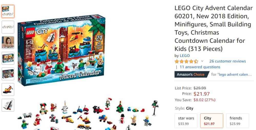Buy LEGO City 2018 Advent Calendar only $22 at Amazon