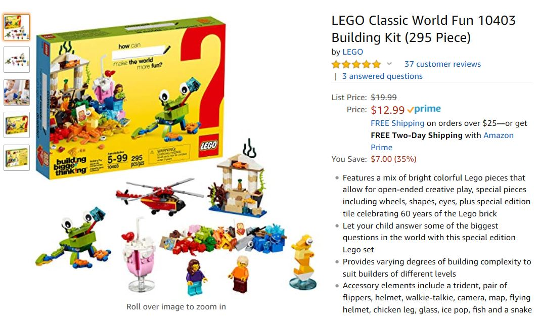 35% OFF LEGO Classic World Fun 10403 Building Kit - Only $12.99