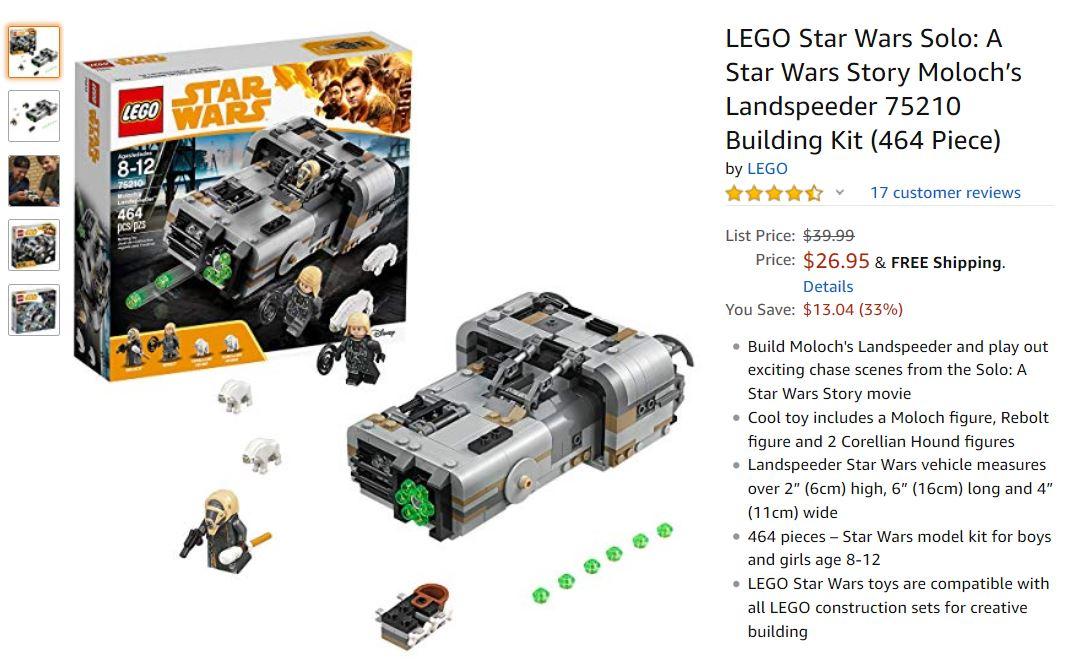 33% OFF LEGO Star Wars Solo: A Star Wars Story Moloch's Landspeeder 75210 Building Kit -  Only $26.95