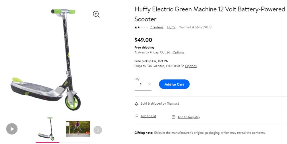 Buy Huffy 12V Electric Green Machine Scooter only $49 + Free Shipping at Walmart