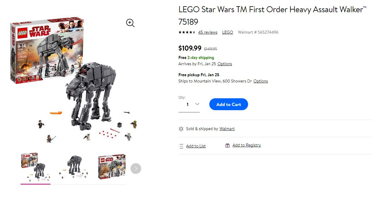 Buy LEGO Star Wars Episode VIII First Order Heavy Assault Walker 75189 (1376 Piece) only $110
