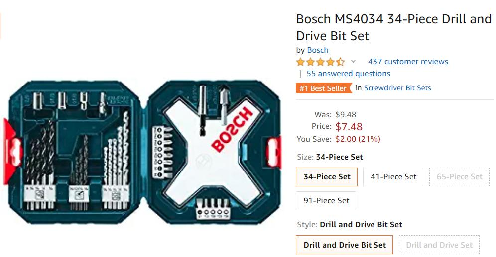 Get Bosch 34-Piece Drill and Drive Bit Set only $7.48 plus Free Shipping with Amazon Prime