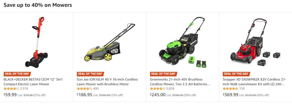 Amazon Promo - Up to 40% Off Select Lawn Mowers