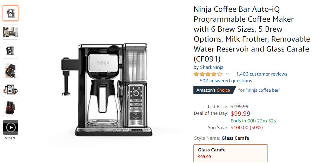 Get Ninja Coffee Bar 10-Cup Coffee System only $100 at Amazon