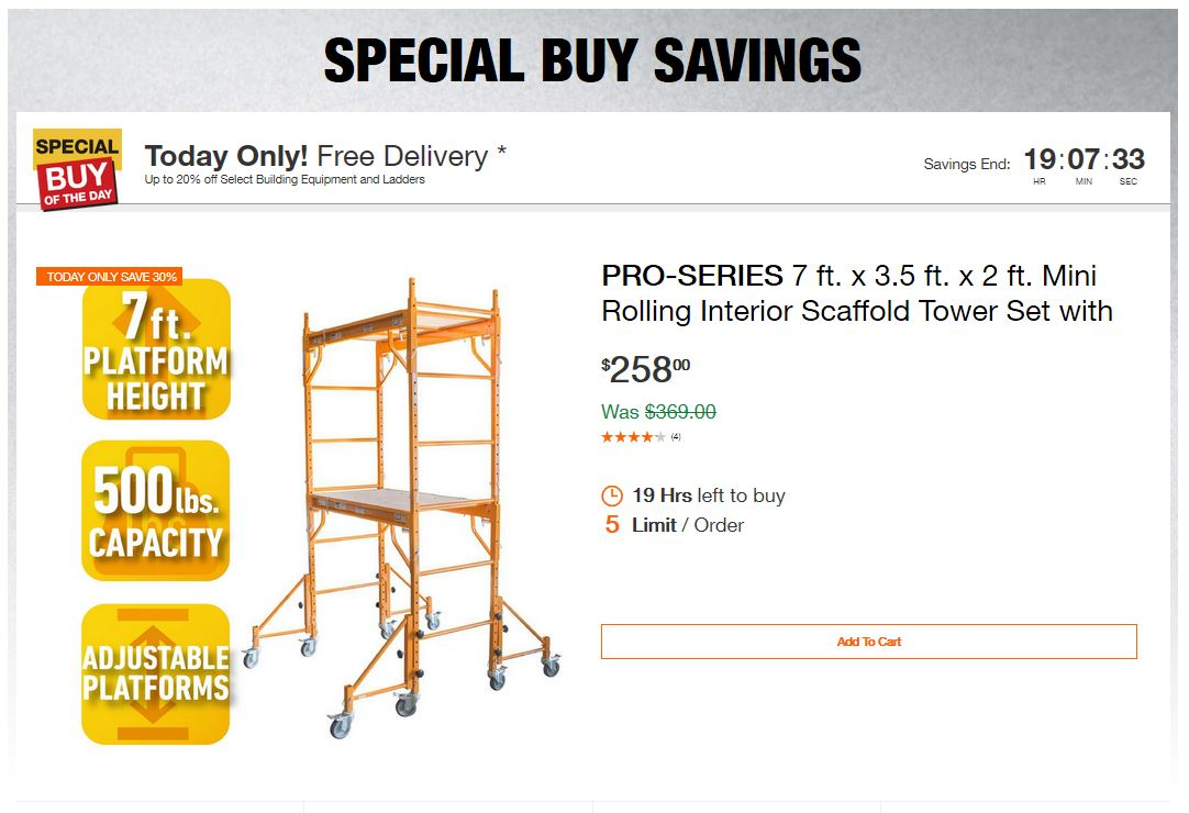 Home Depot Deals - Up to 20% off Select Building Equipment and Ladders