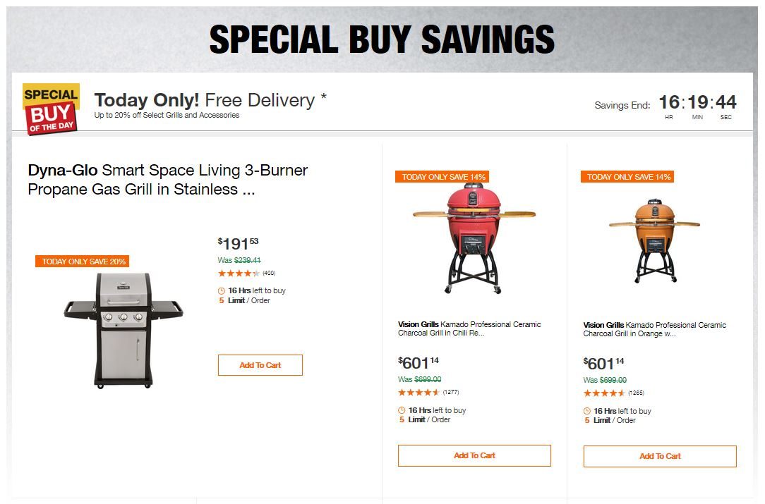 Home Depot Deals - Up to 20% off Select Grills and Accessories