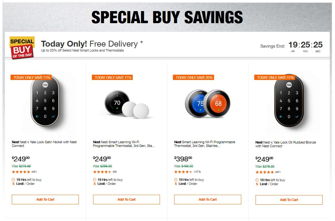 Home Depot Deals - Up to 20% off Select Nest Smart Locks and Thermostats