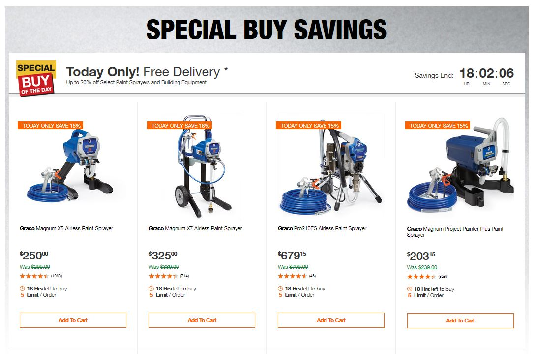 Home Depot Deals - Up to 20% off Select Paint Sprayers and Building Equipment