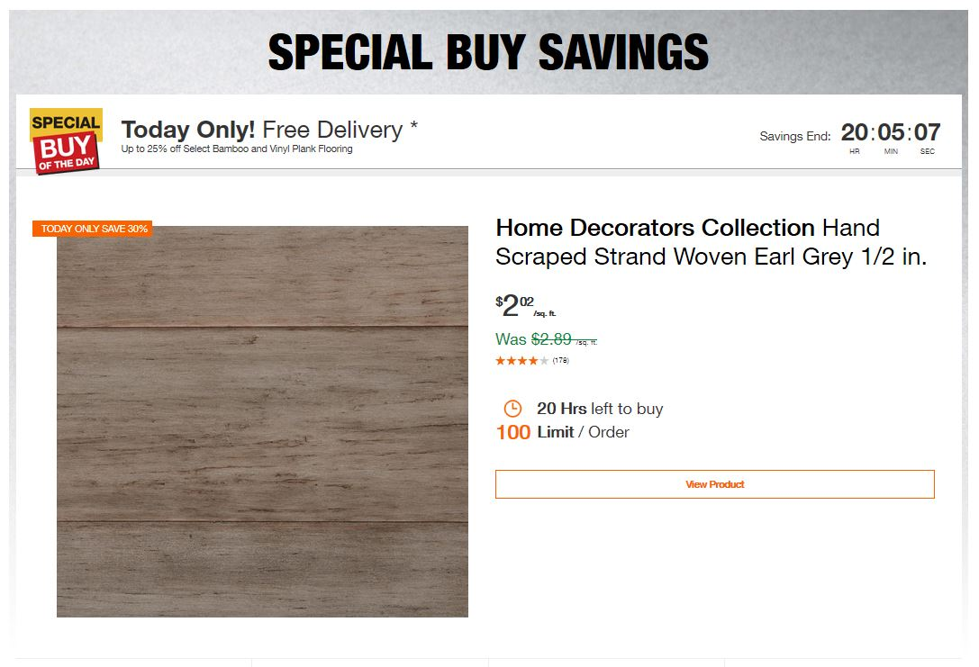 Home Depot Deals - Up to 25% off Select Bamboo and Vinyl Plank Flooring