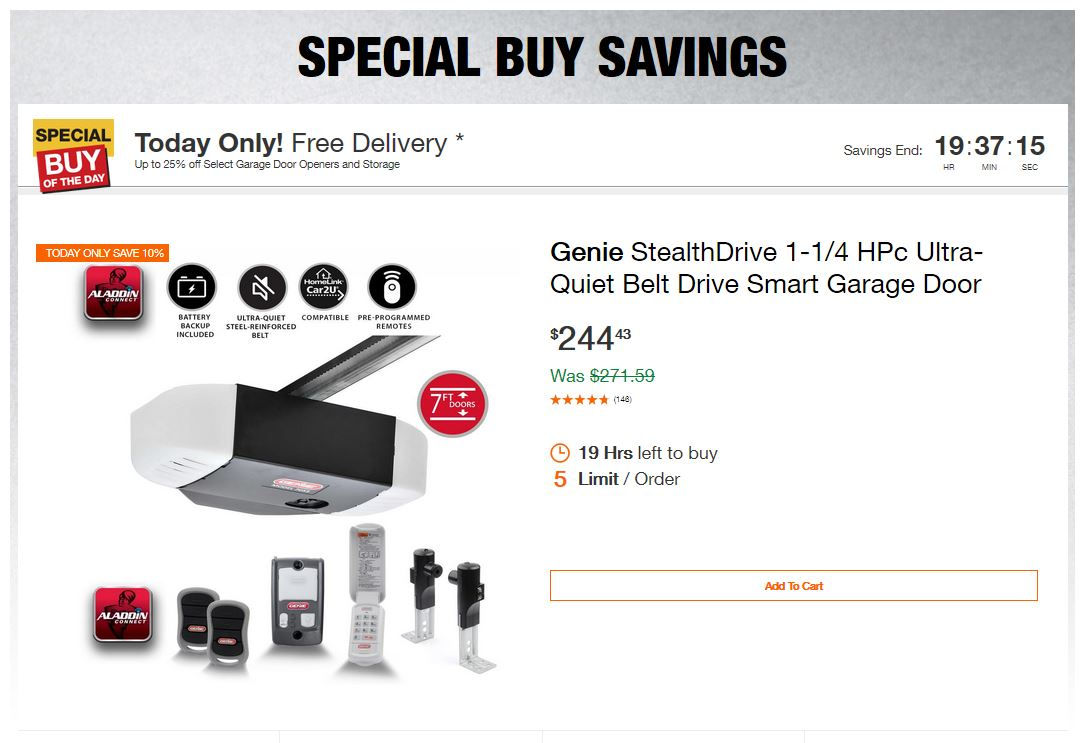 Home Depot Deals - Up to 25% off Select Garage Door Openers and Storage