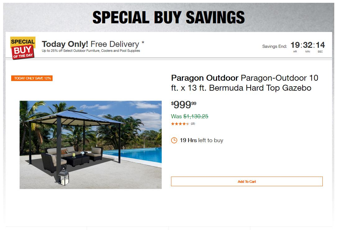 Home Depot Deals - Up to 25% off Select Outdoor Furniture, Coolers and Pool Supplies