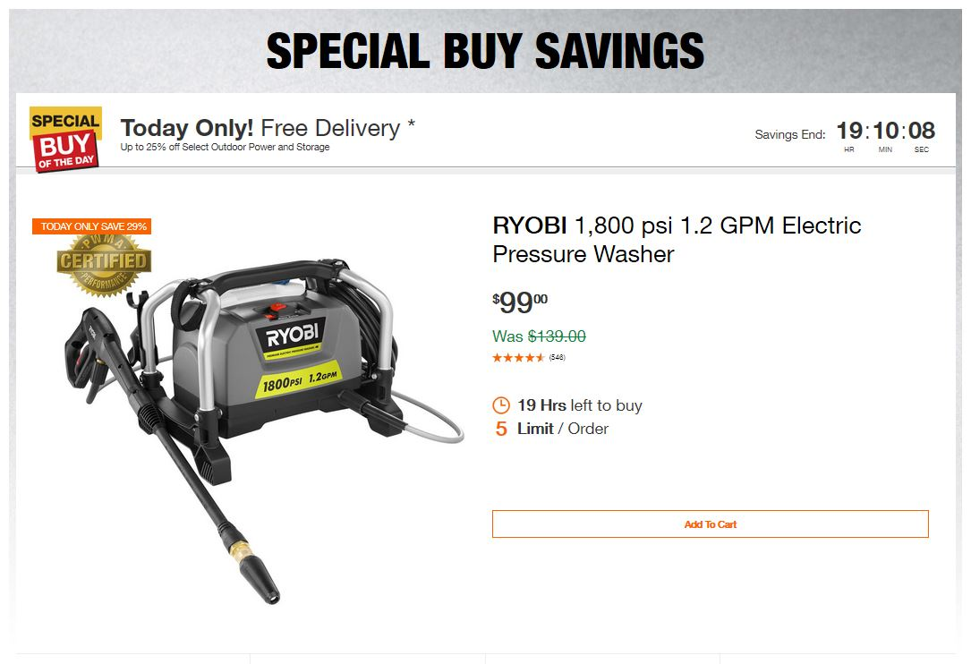 Home Depot Deals - Up to 25% off Select Outdoor Power and Storage
