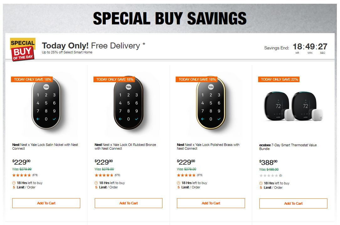 Home Depot Deals - Up to 25% off Select Smart Home