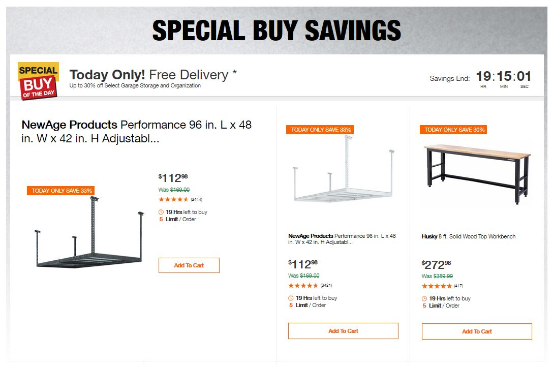 Home Depot Deals - Up to 30% off Select Garage Storage and Organization