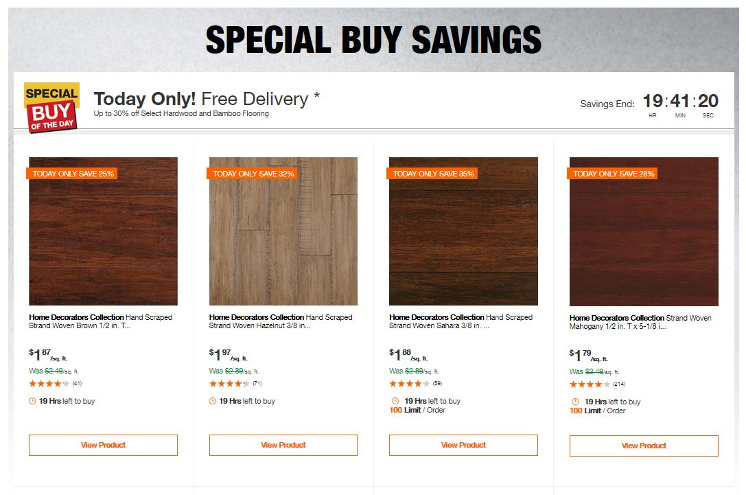 Home Depot Deals - Up to 30% off Select Hardwood and Bamboo Flooring
