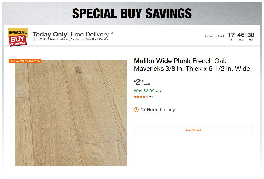 Home Depot Deals - Up to 30% off Select Hardwood, Bamboo and Vinyl Plank Flooring