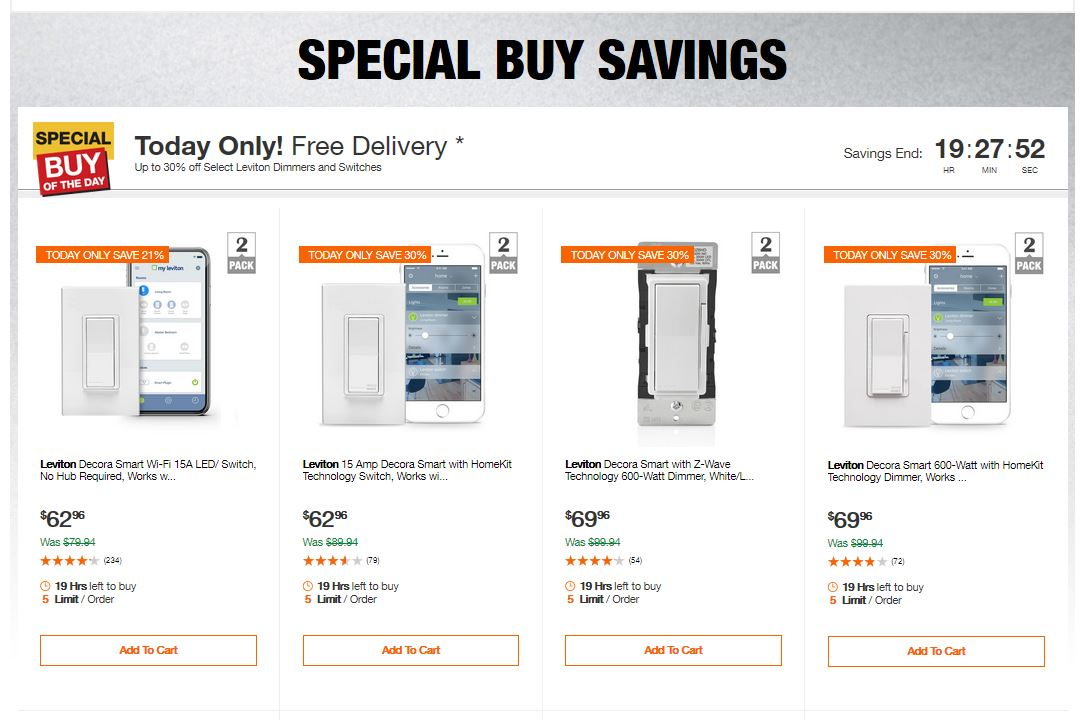 Home Depot Deals - Up to 30% off Select Leviton Dimmers and Switches