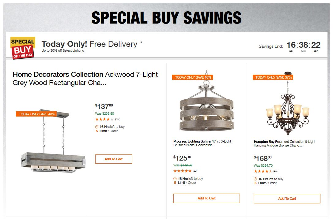 Home Depot Deals - Up to 30% off Select Lighting