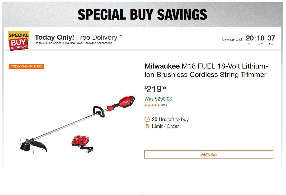 Home Depot Deals - Up to 30% off Select Milwaukee Power Tools and Accessories