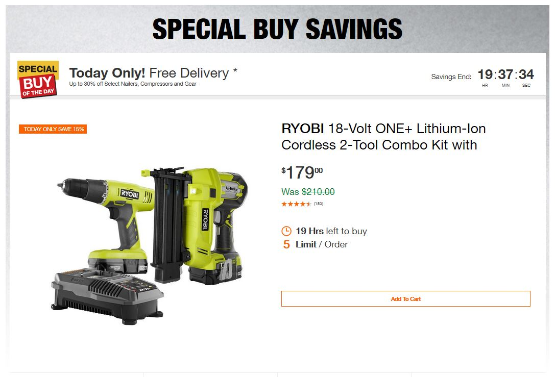 Home Depot Deals - Up to 30% off Select Nailers, Compressors and Gear