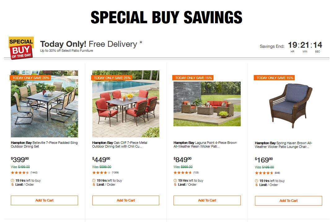 Home Depot Deals - Up to 30% off Select Patio Furniture ... on signs furniture, home depot boats, home depot outdoor candles, home depot store, home depot lawn mowers, home depot clearance sale, outdoor furniture, home depot lighting ideas, home depot hammock chair, home depot wicker swing, home depot living room chairs, home depot garden chairs, home depot wood furniture, home depot hampton bay sectional, home depot adirondack chair covers, home depot rattan furniture, home depot grill islands, home depot hampton bay track lighting, home depot white wicker chairs, home depot outdoor coolers,