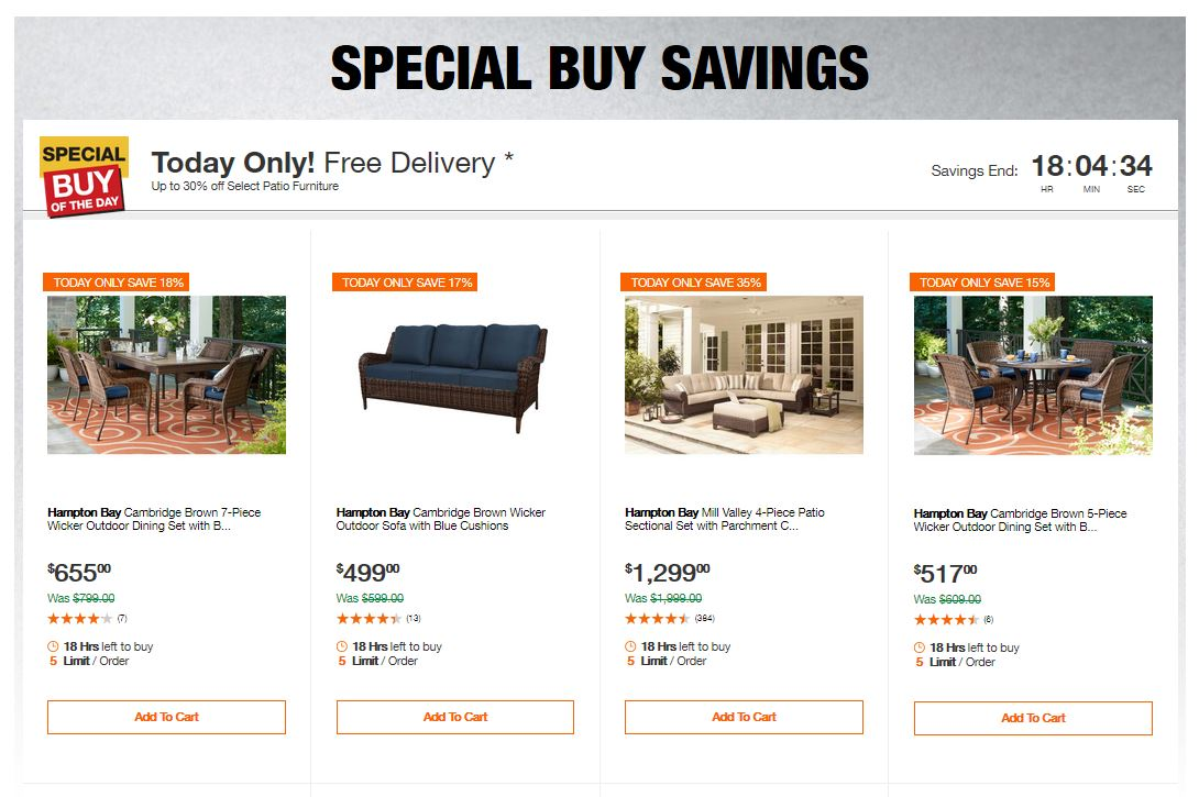 Home Depot Deals - Up to 30% off Select Patio Furniture