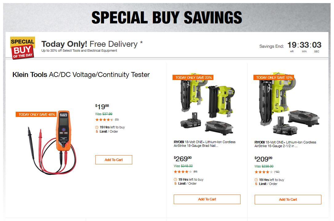Home Depot Deals - Up to 30% off Select Tools and Electrical Equipment