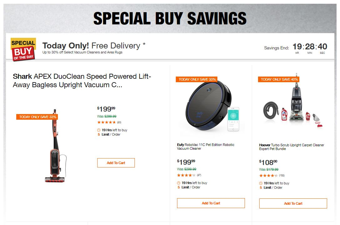 Home Depot Deals - Up to 30% off Select Vacuum Cleaners and Area Rugs