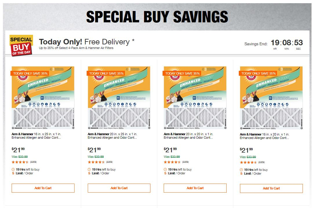 Home Depot Deals - Up to 35% off Select 4-Pack Arm & Hammer Air Filters