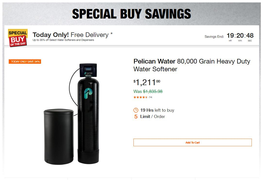 Home Depot Deals - Up to 35% off Select Water Softeners and Dispensers
