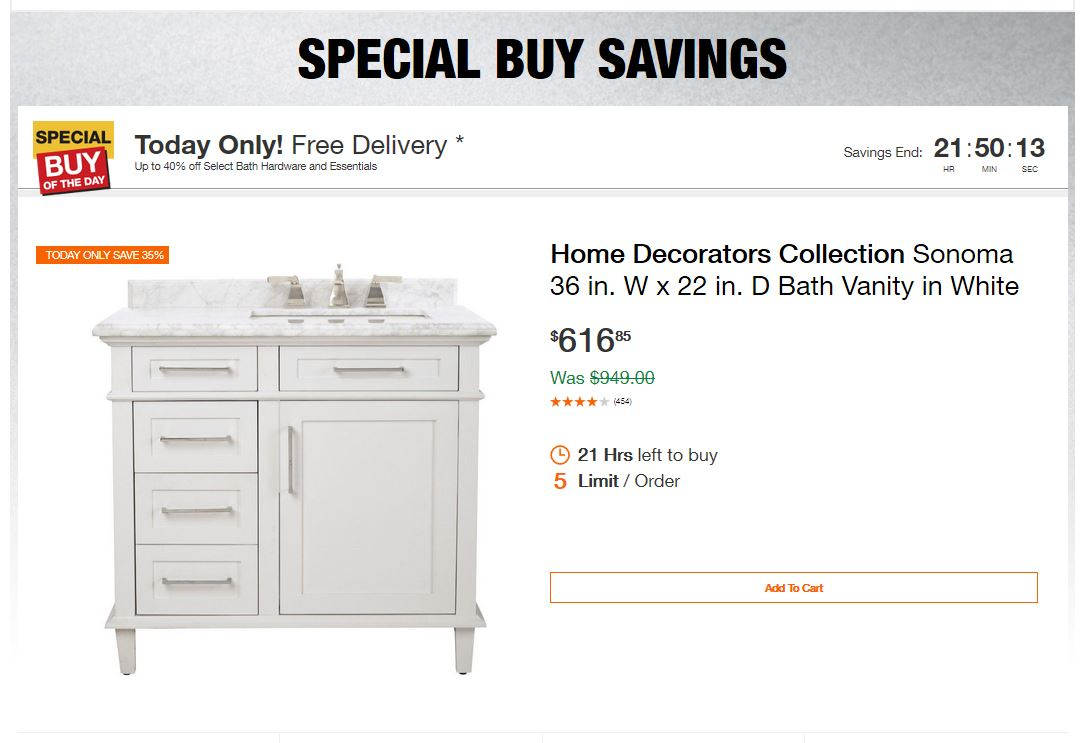 Home Depot Deals - Up to 40% off Select Bath Hardware and Essentials