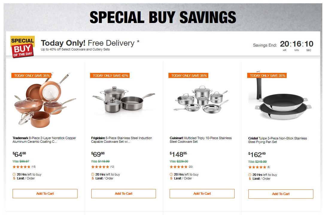 Home Depot Deals - Up to 40% off Select Cookware and Cutlery Sets