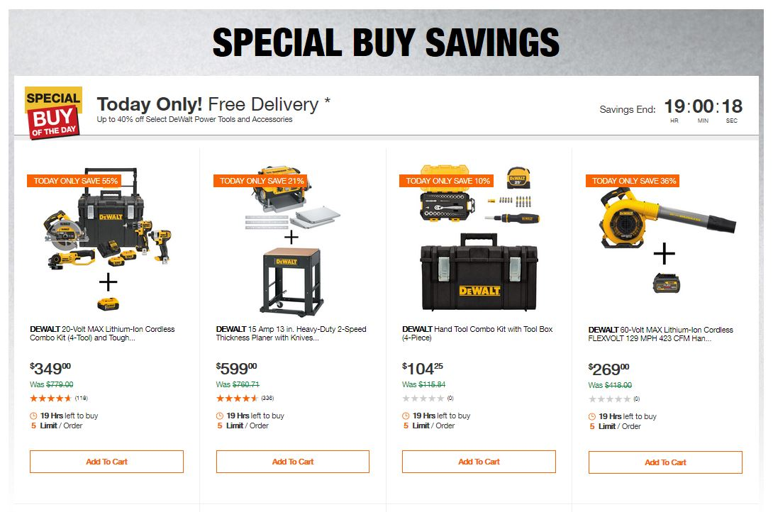 Home Depot Deals - Up to 40% off Select DeWalt Power Tools and Accessories