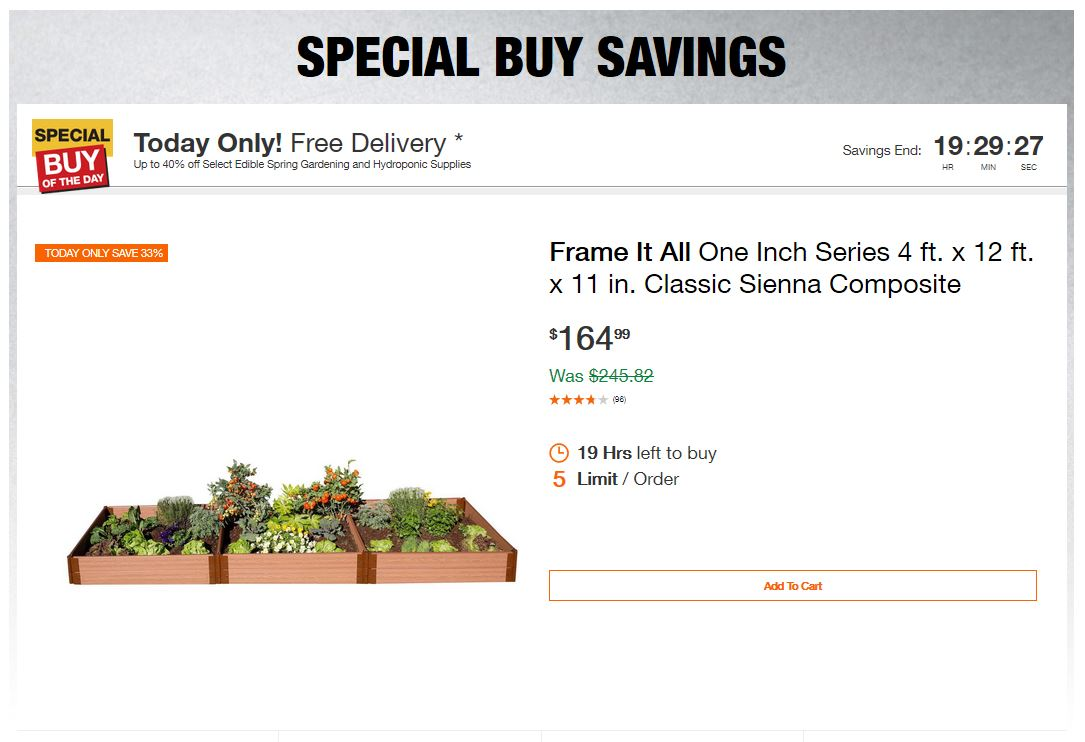 Home Depot Deals - Up to 40% off Select Edible Spring Gardening and Hydroponic Supplies