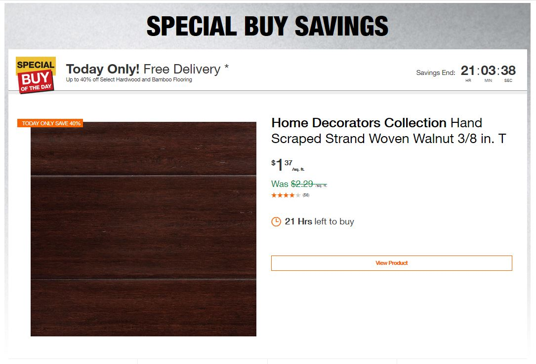 Home Depot Deals - Up to 40% off Select Hardwood and Bamboo Flooring