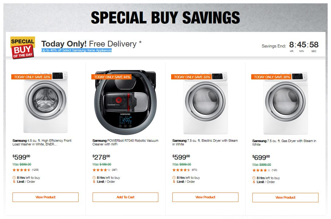 Home Depot Deals - Up to 40% off Select Samsung Home Appliances
