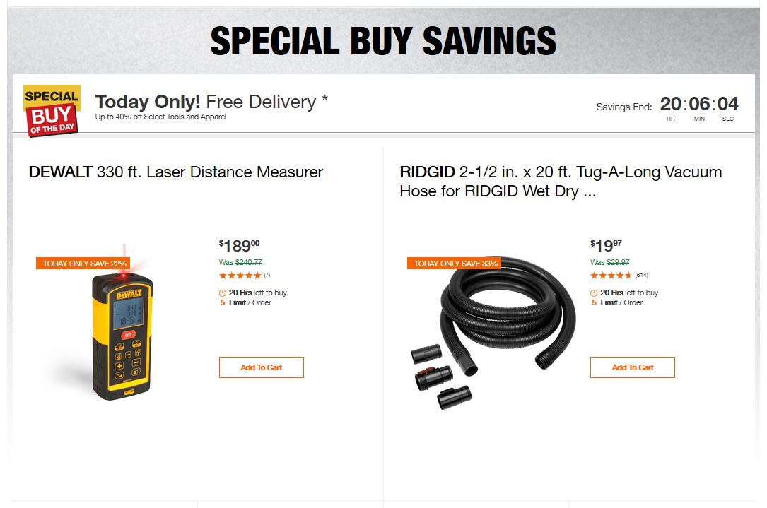 Home Depot Deals - Up to 40% off Select Tools and Apparel
