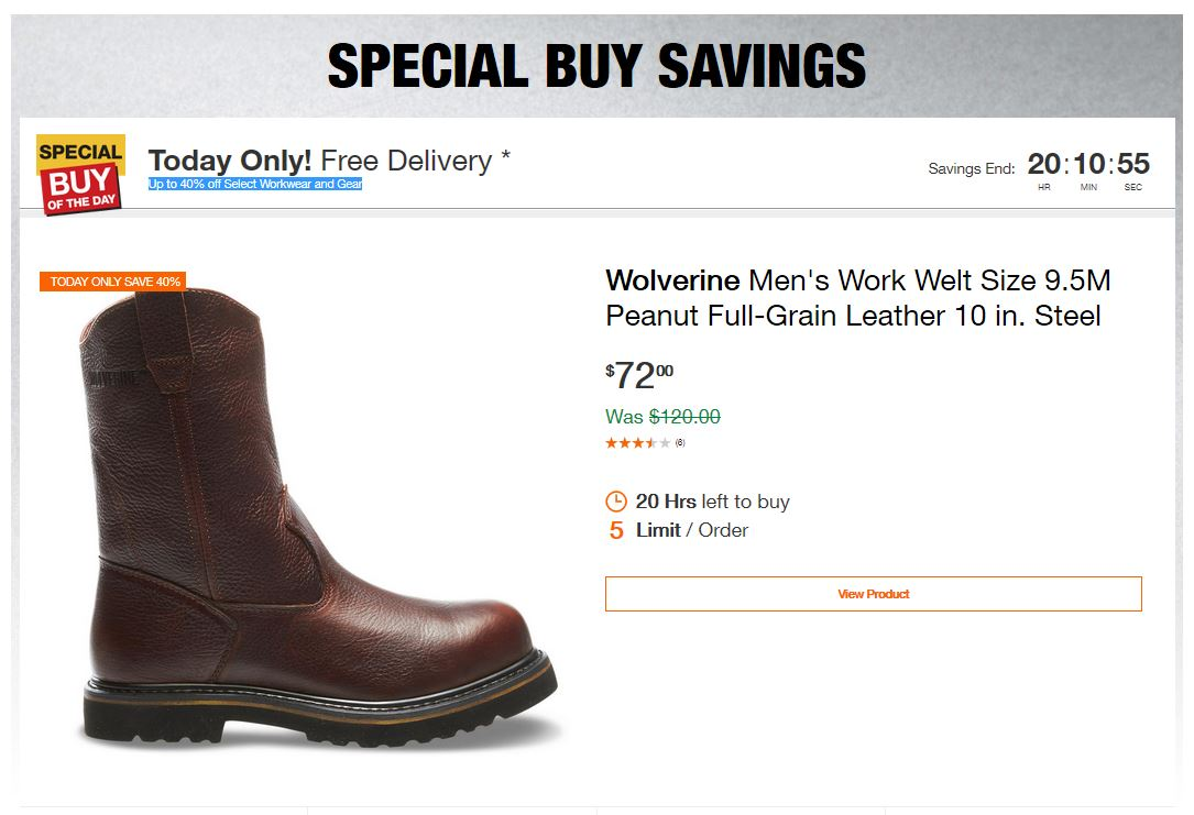 Home Depot Deals - Up to 40% off Select Workwear and Gear