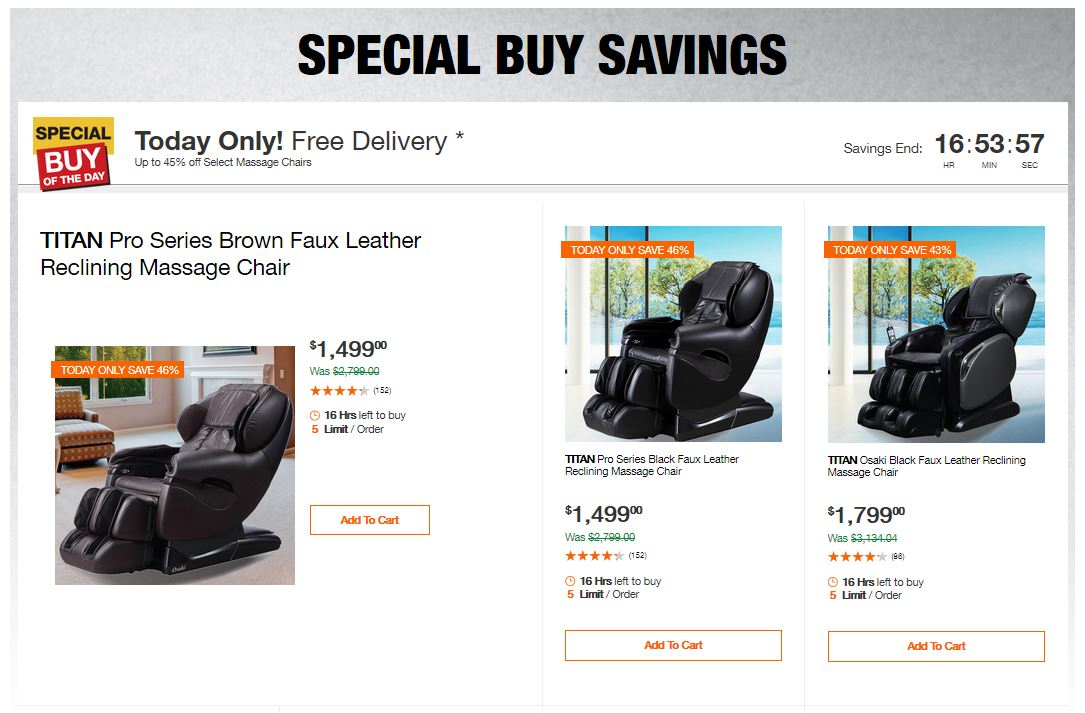Home Depot Deals - Up to 45% off Select Massage Chairs