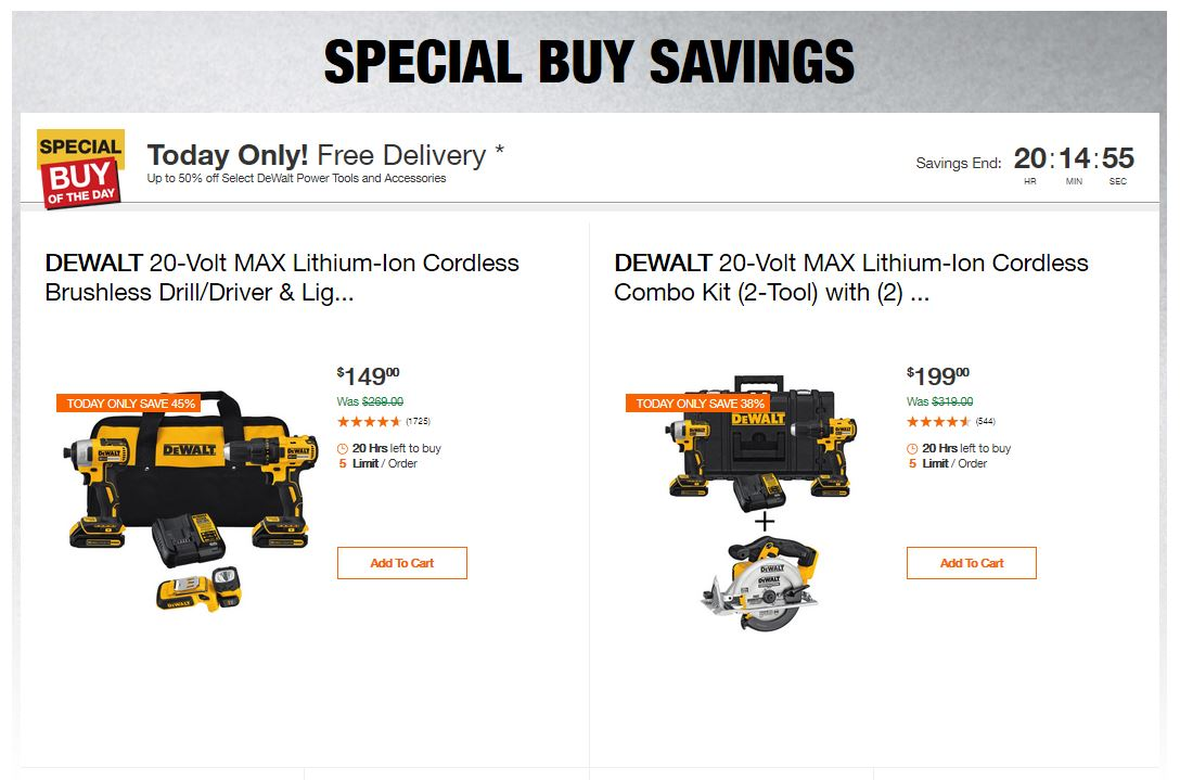 Home Depot Deals - Up to 50% off Select DeWalt Power Tools and Accessories