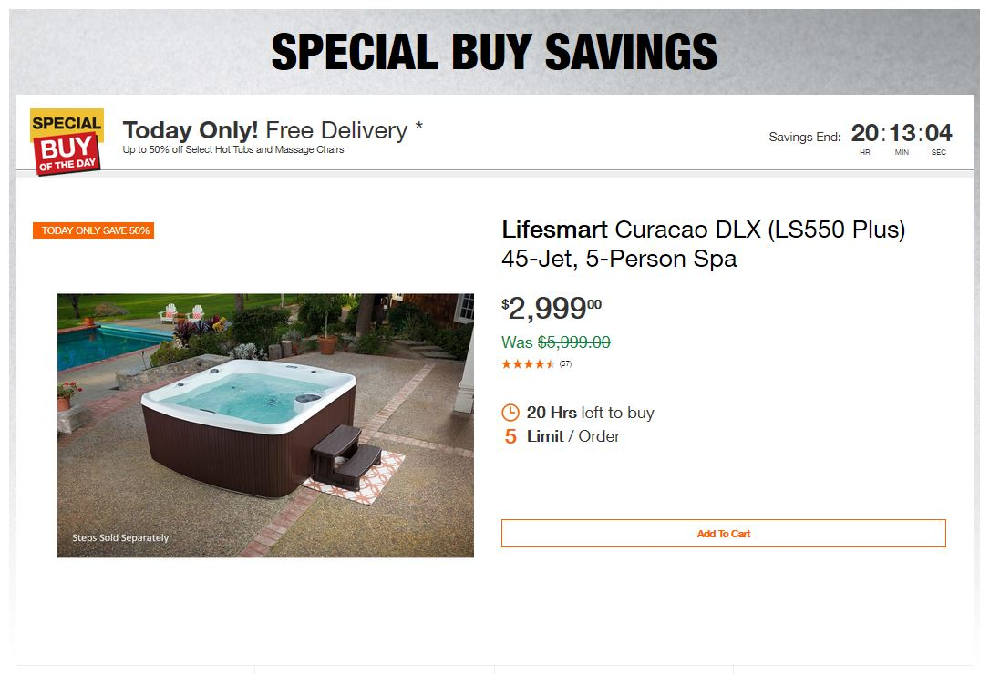 Home Depot Deals - Up to 50% off Select Hot Tubs and Massage Chairs