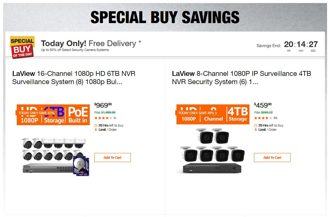 Home Depot Deals - Up to 50% off Select Security Camera Systems
