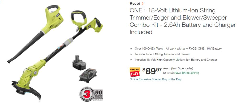 Ryobi ONE+ 18-Volt Lithium-Ion String Trimmer/Edger and Blower/Sweeper Combo Kit only $90