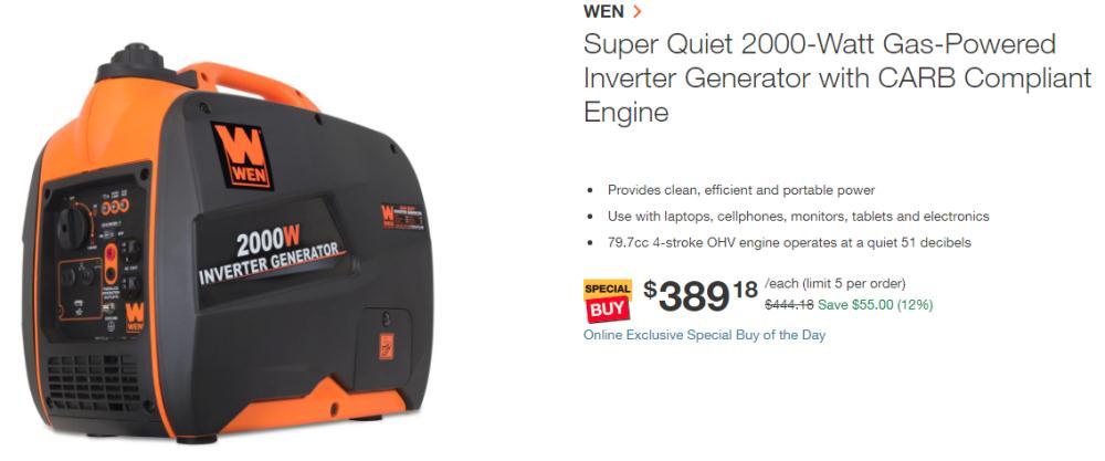 Buy WEN 56200i Super Quiet 2000-Watt Portable Inverter Generator only $389