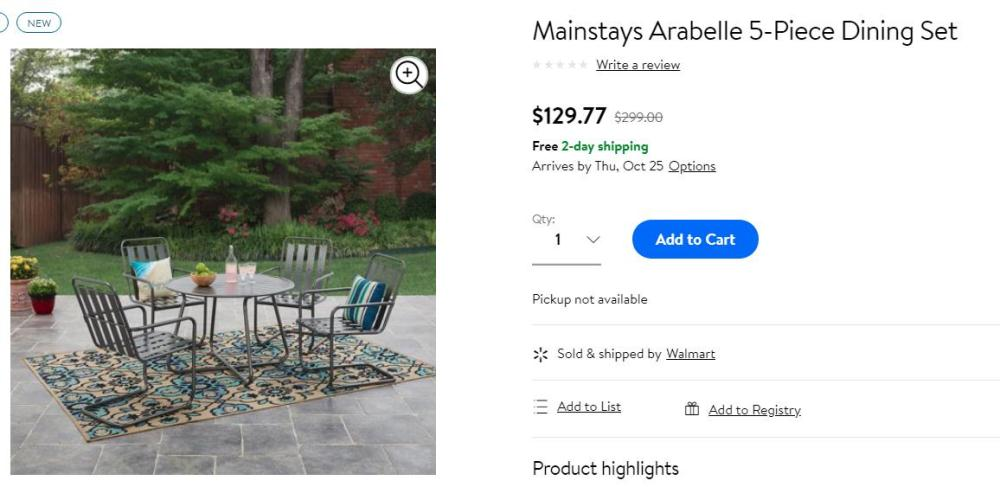 Get Mainstays Arabelle 5-Piece Dining Set only $130 + Free Shipping at Walmart