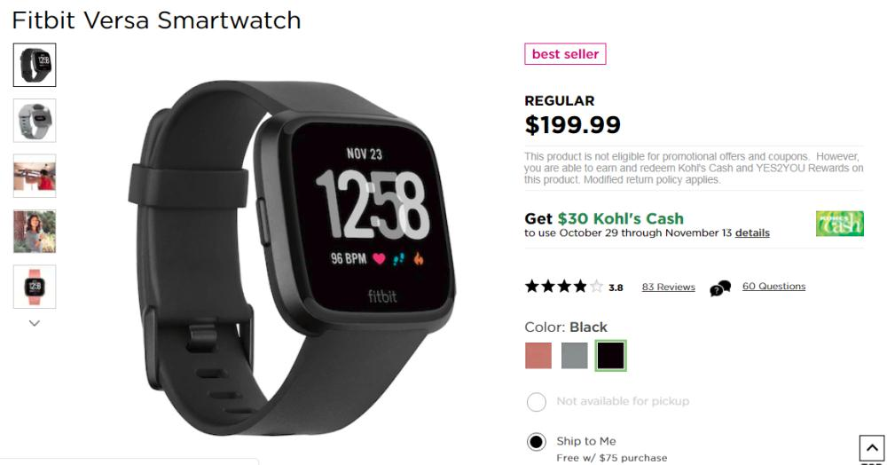 Get Fitbit Versa Smartwatch only $200 plus $40 Kohl's Cash