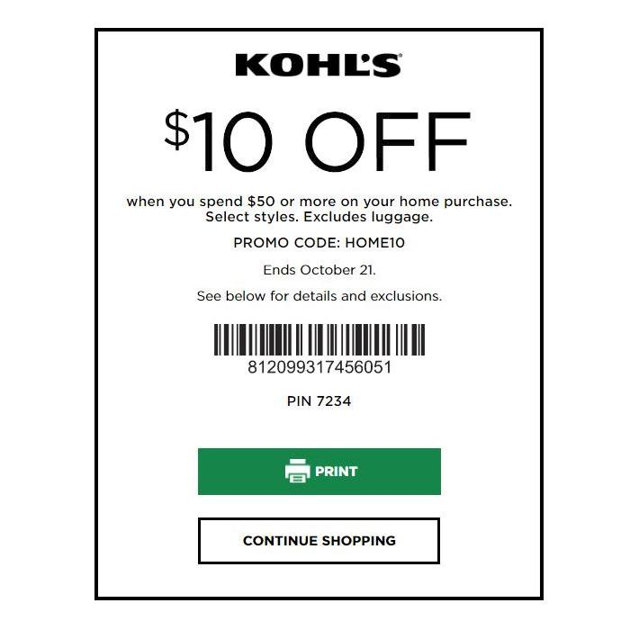 Kohl's Home Sale Coupon: $10 Off $50 Purchase October 2018