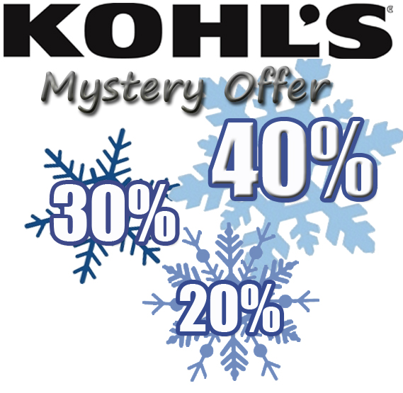 Kohl's Mystery Savings Coupon: 20% 30% or 40% OFF