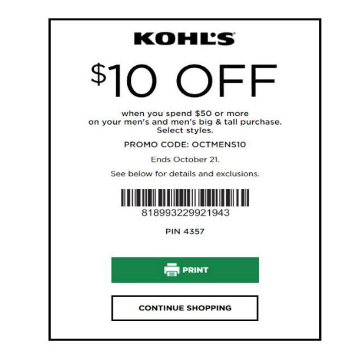 Kohl's Coupon: $10 off $50 Men's Big & Tall Apparel Purchase October 2018