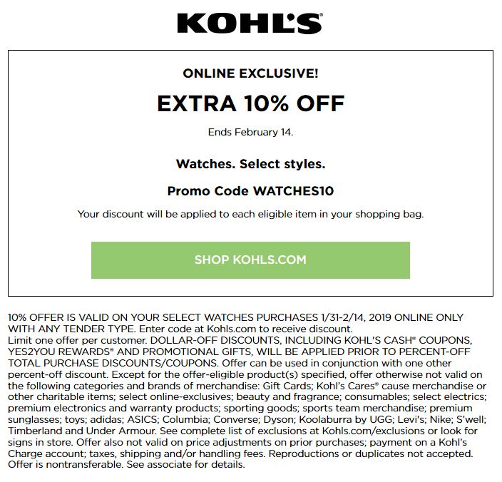 Kohl's Coupons: Extra $10 Off Watches February 2019
